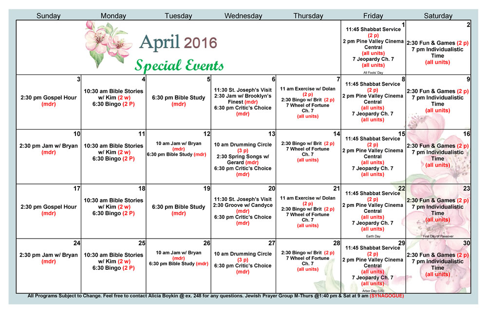Calendar April Events : Calendar pine valley rehab